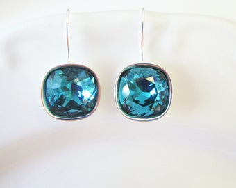 Cushion Cut Earrings, Blue Bridal Earrings, Bridesmaids Earrings, Swarovski Crystal Earrings, Teal Jewelry, Beach Wedding Jewelry