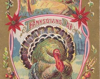 Thanksgiving Day- 1910s Antique Postcard- Tom Turkey- Edwardian Holiday Decor- Art Greeting- Paper Ephemera- Used