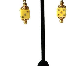 Vintage 1940's Rhinestone Bakelite Dice Drop Earrings