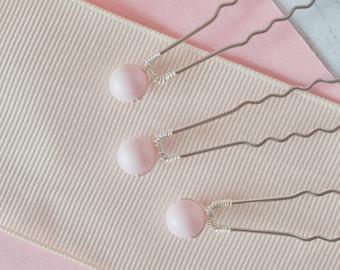 Pink Hair Pins, Pearl Hair Pins, Pink Bridesmaid Hair Pins, Pink Wedding, Bridesmaid Gift, Bridesmaid Hair, Pink Hair Accessories, Hairpins