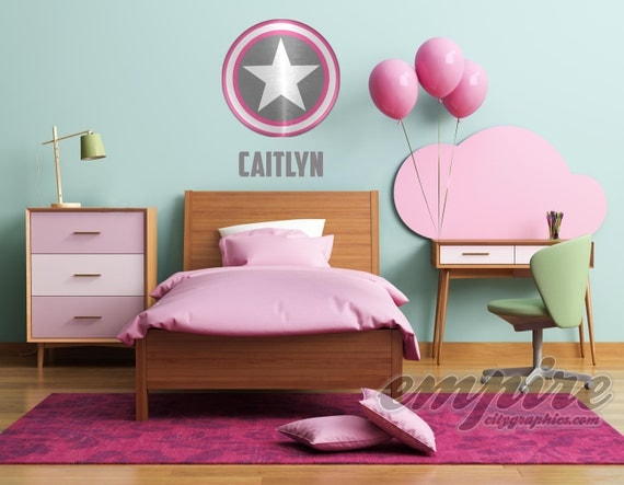 Superhero Shield Wall Decal, Captain Shield, Custom Name Decal, Personalized Name Wall Decal