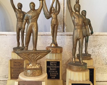 5 Vintage Fraternity Trophies - Omega Delta - Laurel, Softball - 1950s.