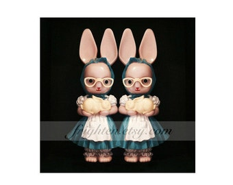 Creepy Twins Weird Easter Art, Pink and Black Vintage Plastic Bunny Rabbit Dolls Photography Print