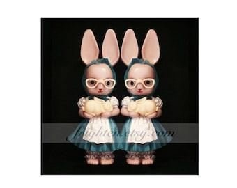 Creepy Twins Weird Easter Art, Pink and Black Vintage Plastic Bunny Rabbit Dolls Photography Print