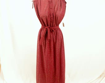 70s Red Maxi Dress * 70s Maxi Dress * Sheer Maxi Dress * 1970s Dress * Red Dress * Summer Dress * Red Sundress * Ruched Dress * NWT