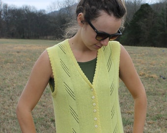 Yellow knit boho vest with Tiny Buttons   / / Size Small-Medium