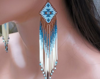 "6"" Long Seed Bead Quill Earrings - Porcupine Quill - Extra Long Beaded Earrings - Copper & Teal Beadwork - Southwestern Style - Tribal Style"