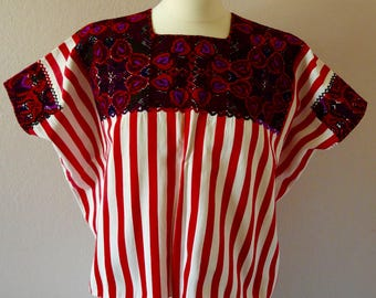 "Chiapas hand woven huipil blouse Highland Maya red striped cotton embroidered floral Frida Kahlo 30"" W x 21"" Long #A"