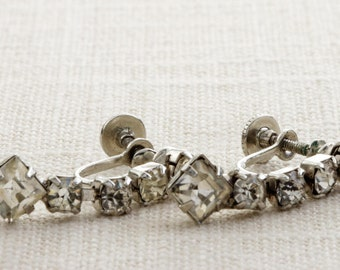 Vintage Rhinestone Dangle Earrings Clip On Screw Back Clipons   Vtg 7B A