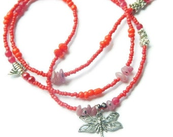 Ruby Dragonfly Love and Friendship Waist Beads, Red Waistbeads, Love Belly Chain, Ruby Waist Chain, Ruby Belly Chain