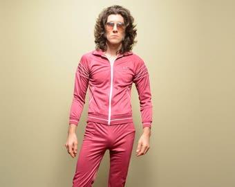 vintage 80s MacGregor track suit burgundy maroon warm up jacket pants set 1980 XS extra small tennis athletic gym