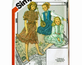 Tween Retro 1980s Heirloom Dress and Vest Uncut Sewing Pattern Cinderella Size 12 breast 30 Dress Steampunk Victorian Simplicity 5729