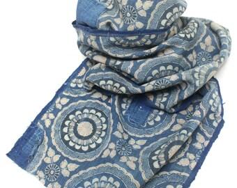 Antique Japanese Boro Textile. Handwoven Katazome Cotton. Natural Indigo Stencil Dyed Folk Fabric  (Ref: 1645)