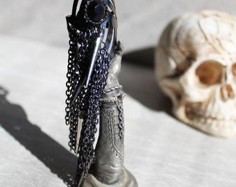 Chain Fringe Adjustable Spike Ring, Gothic, Industrial