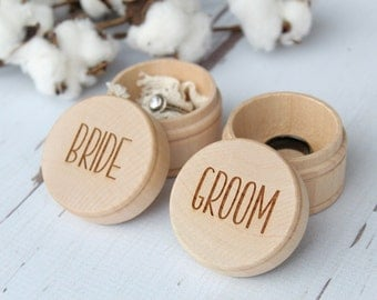Bride and Groom Ring Box Keepsake Ring Box Engraved Rustic Wedding Ring Box