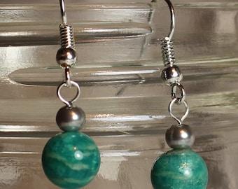 Amazonite and Grey Fake Pearl Earrings