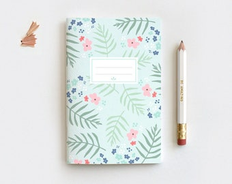 Spring Mint Floral Journal & Pencil Set, Midori Insert - Hand Drawn Illustrated Palm Leaf Floral Notebook - 3 Sizes - Blank, Lined, Dot Grid