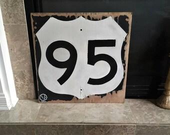 OLD Roadway Highway SIGN antique Route Signage Vintage Road Side SIGN