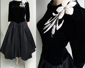 Vintage 1950s Dress//50s Dress//Black// Beaded//Garden Party//New Look//Mod//Mad Man//Party Dress
