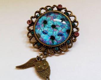 Bronze Filigree Flower Owl and Wing cabochon brooch pin Israel Hand made