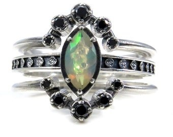 Opal Moon Phase and Black Diamond Constellation Engagement Ring Set - Celestial Wedding Rings