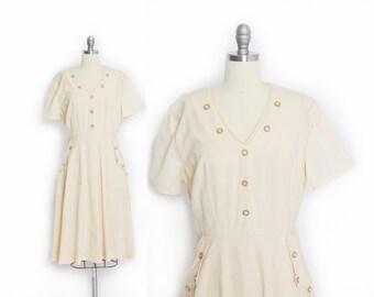 Vintage 40s Dress - Cream Cotton Day Dress WWII Full Skirt 1940s  - Large / Medium