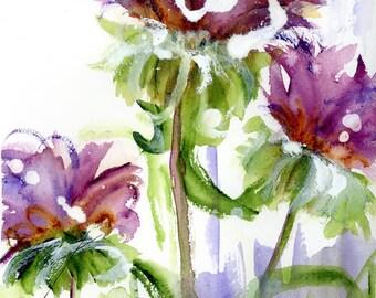 Modern Botanical Art Print,  Purple Wildflowers, 12 x 16 Botanical Art, Fresh Floral Art