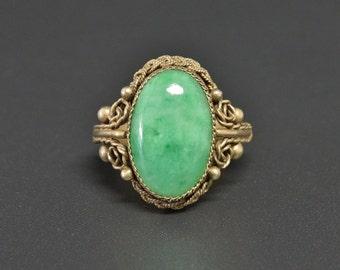 Vintage Jade Ring Apple Green Jadeite Gold Sterling Vtg China Adjustable Size Band