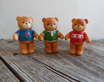 Lucy and Me Bears, Bears in Sweaters, Enesco Collectible Bears, 1979 collectible porcelain bears,