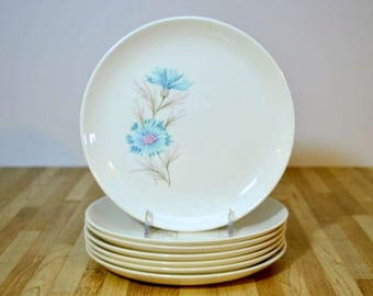 Vintage Chateau Buffet Boutonniere Ever Yours  Taylor Smith and Taylor Bread and Butter of Dessert Plates Set of Seven TST Robin Egg Blue