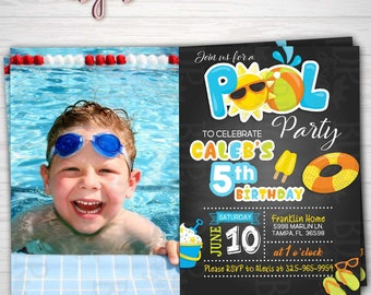 BOY Pool Party Birthday Photo Invitation, Swimming Party, Summer Party, ANY Birthday-Customized Download OR Prints-Details Below
