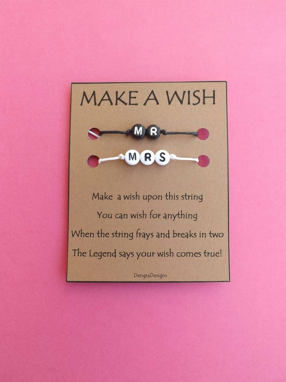 Mr and Mrs Black White Double Wish String