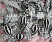 Lot #3 -Set of 5  Black White Stripe Ornaments - Hand Painted- (SEE Photos for measurements)- READY to SHIP -Sold as Shown