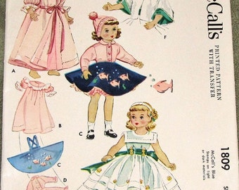"Vintage 1950s Craft Sewing Pattern with Transfer McCall's 1809 Maggie Alice 15"" Doll Clothes, Dress, Sweater, Cape, Pegnoir, Cap PC Complete"