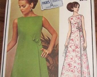 Vintage 1960s Sewing Pattern Vogue Paris Original 2043, Balmain Wrap Dress, Womens Misses Size 14 Bust 36, Uncut Factory Folds, with Label