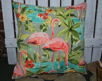 Flamingo Pillow Cover . Indoor / Outdoor Fabric .  Zipper Closure . Handmade by SeamsOriginal