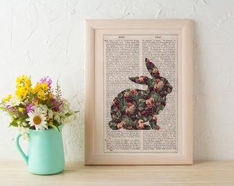 Summer Sale Wall art Bunny silhouette, Pea flowers pattern art collage print. Rabbit wall art print.Nursery art. Gift her ANI247