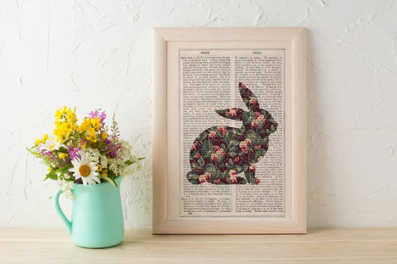 Summer Sale Wall art Bunny silhouette, Pea flowers pattern art collage print. Rabbit wall art print.Nursery art. Gift her ANI247