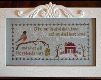 The North Wind Christmas cross stitch pattern by Little House Needleworks at thecottageneedle.com Winter December 25 holidays snow