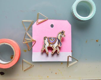 Fancy Llama Wooden Brooch