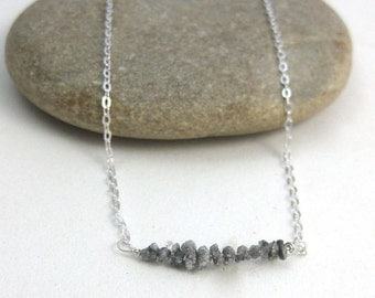 Diamond Bar // Horizontal Gemstone Bar Necklace // Sterling Silver // Raw Diamonds // Conflict Free // Layering Necklace // 19 Inches