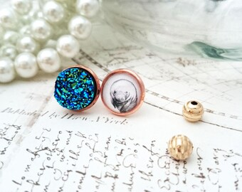 Druzy Earrings with Manatee Art - Art Print Jewelry, Animal Art Jewelry, Manatee Earring, Manatee Jewelry, Mix and Match Earrings
