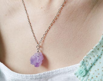 Raw Amethyst Necklace - Violet Amethyst Jewelry, Raw Crystal Necklace, Silver Colour Chain