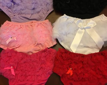 Ruffled bloomers ruffle tulle seat Birthday Party Dress 6M 12m 18M 24M 6 12 18 24 Months Diaper Cover Pink Black Red White Hot Pink Lavender