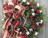Primitive Christmas / Holiday Wreath - Cotton, Burlap Textures, Twine, Unique Burlap Wreath, Plaid, Berries Designer Holiday Decor