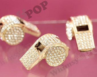 1 - Gold Tone Bling REAL WORKING Rhinestone Whistle Charm Pendant, Whistle Charm, Whistle Pendant, 45mm x 25mm (R8-049)