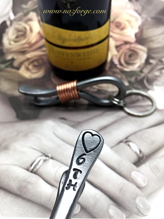 6th Year Wedding Gift - Iron Anniversary - Keychain Bottle Opener - 6 Years - For Couple - Him - Her - 6 - Sixth Wedding Themes Metal Steel
