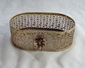 Gold Wire Mesh Vanity Bathroom Basket Trinket Tray