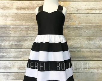 Black and white dress - striped dress - black - white - Special occasion outfit - girls wedding outfit - chic girls dress