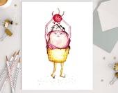 ICE CREAM SUNDAE - Art Print - illustration, children's art, cherry, cupcake, happy birthday, nursery art,